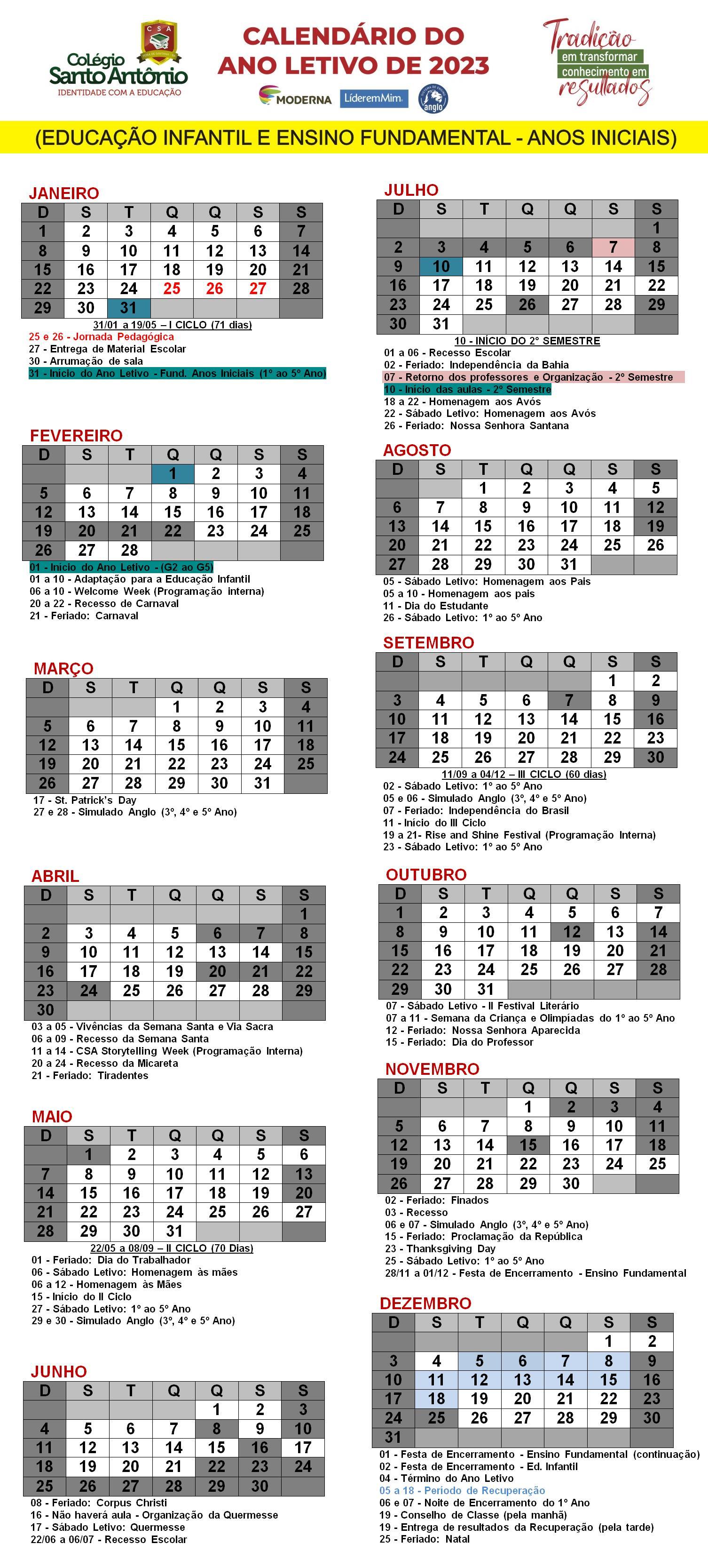 Calendário Ed. Inf e Fund I