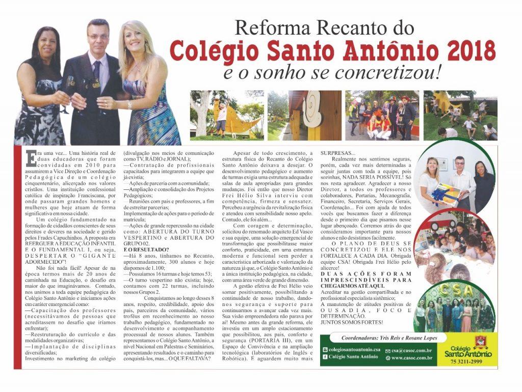 Matéria Jornalística concernente ao NOVO RECANTO disponível exclusivamente no Jornal Consulta Médica – Feira de Santana.
