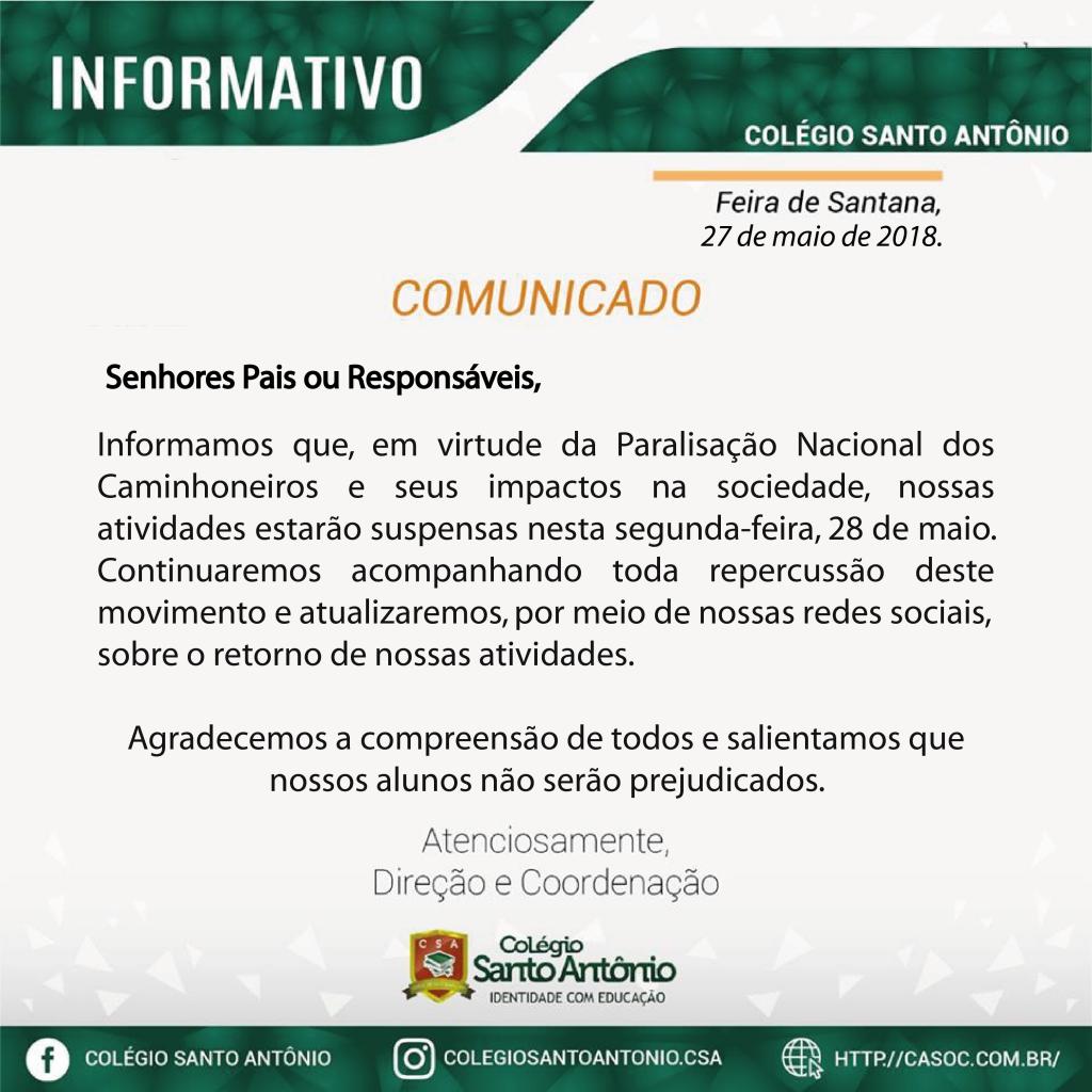 Colégio Santo Antônio informa:
