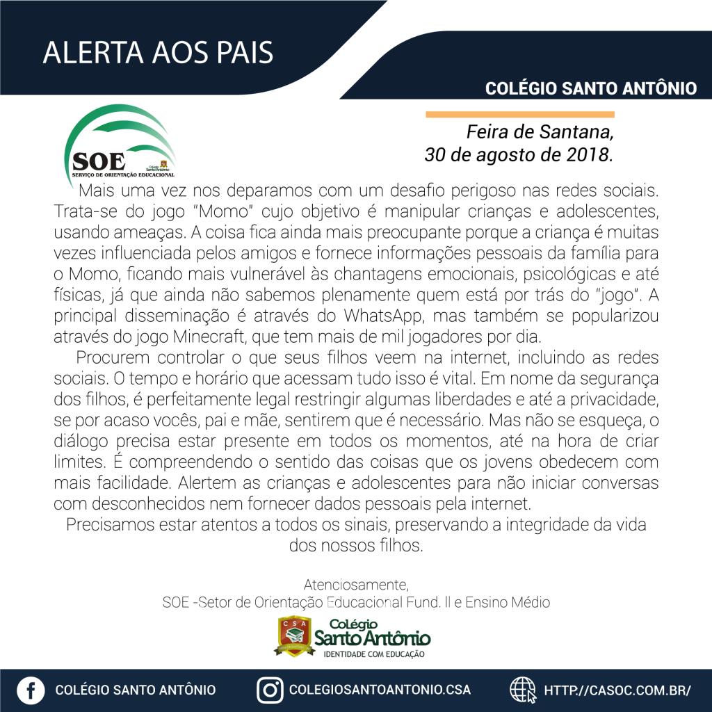 O Colégio Santo Antônio informa:
