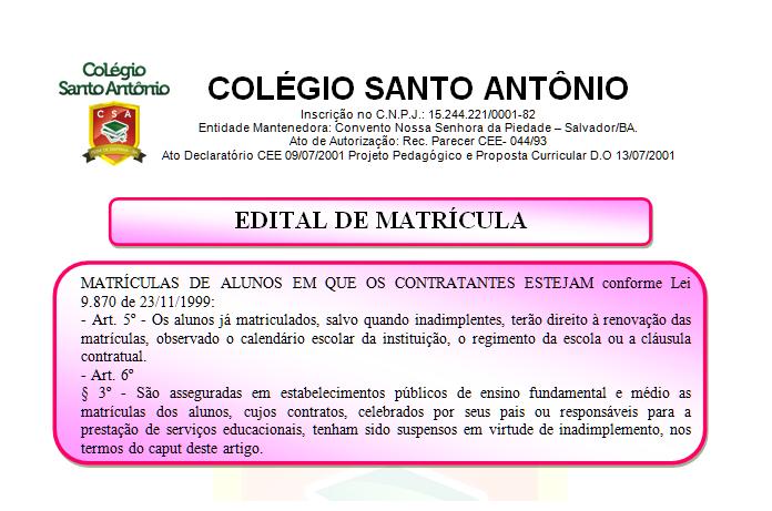 EDITAL DE MATRÍCULA – 2019