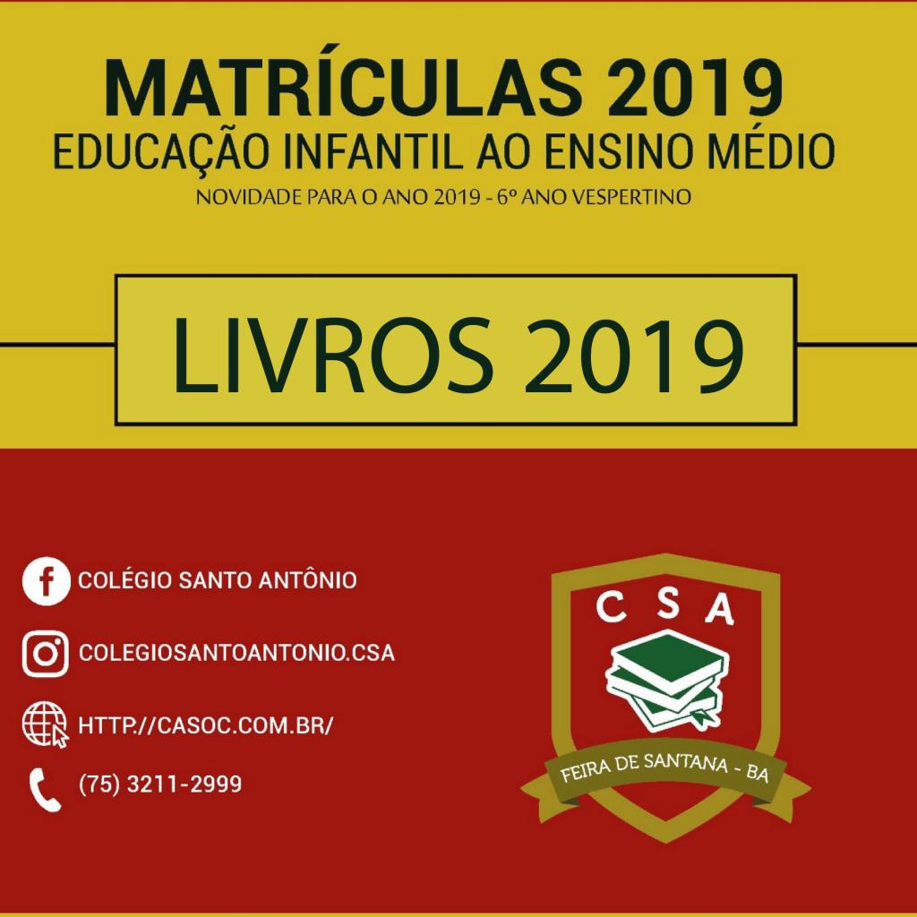 Colégio Santo Antônio – Lista de livros 2019