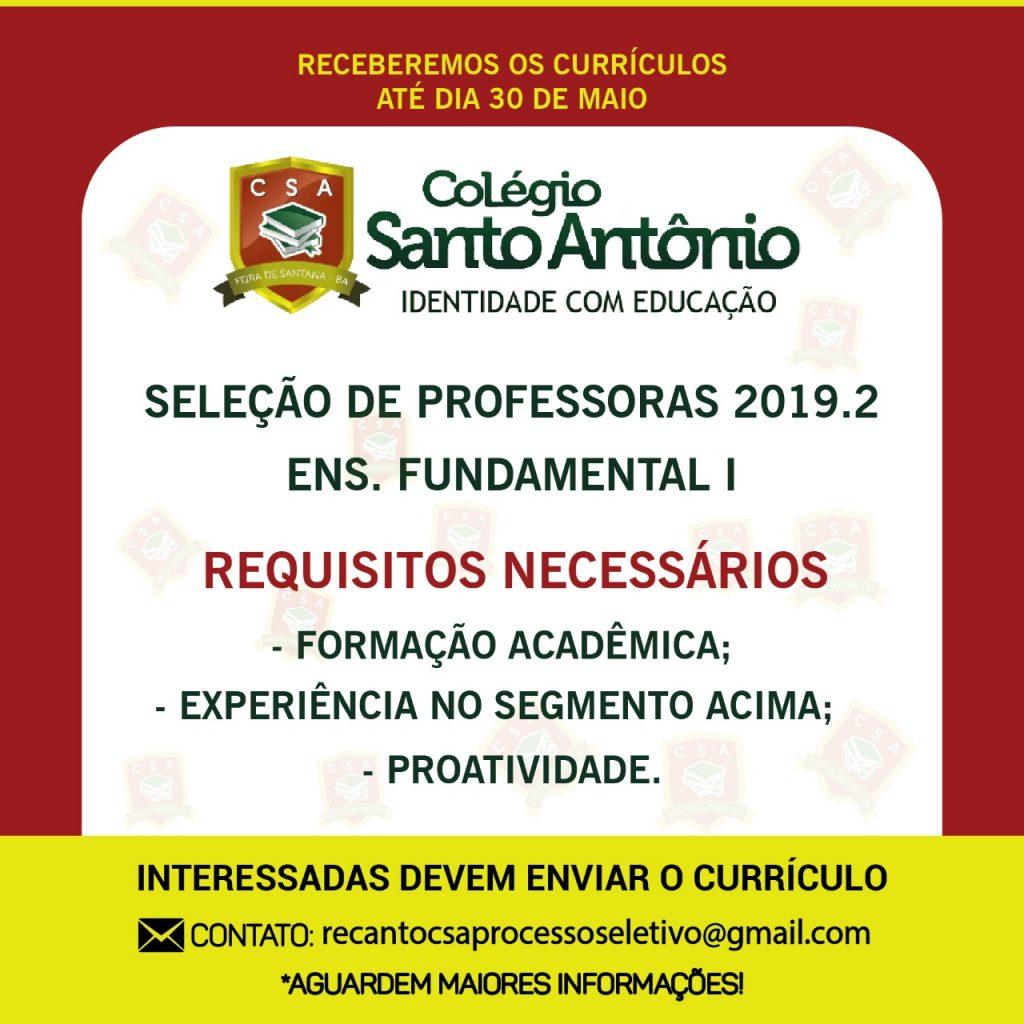 Seleção de Professores 2019.2 Ensino Fundamental I – Colégio Santo Antônio