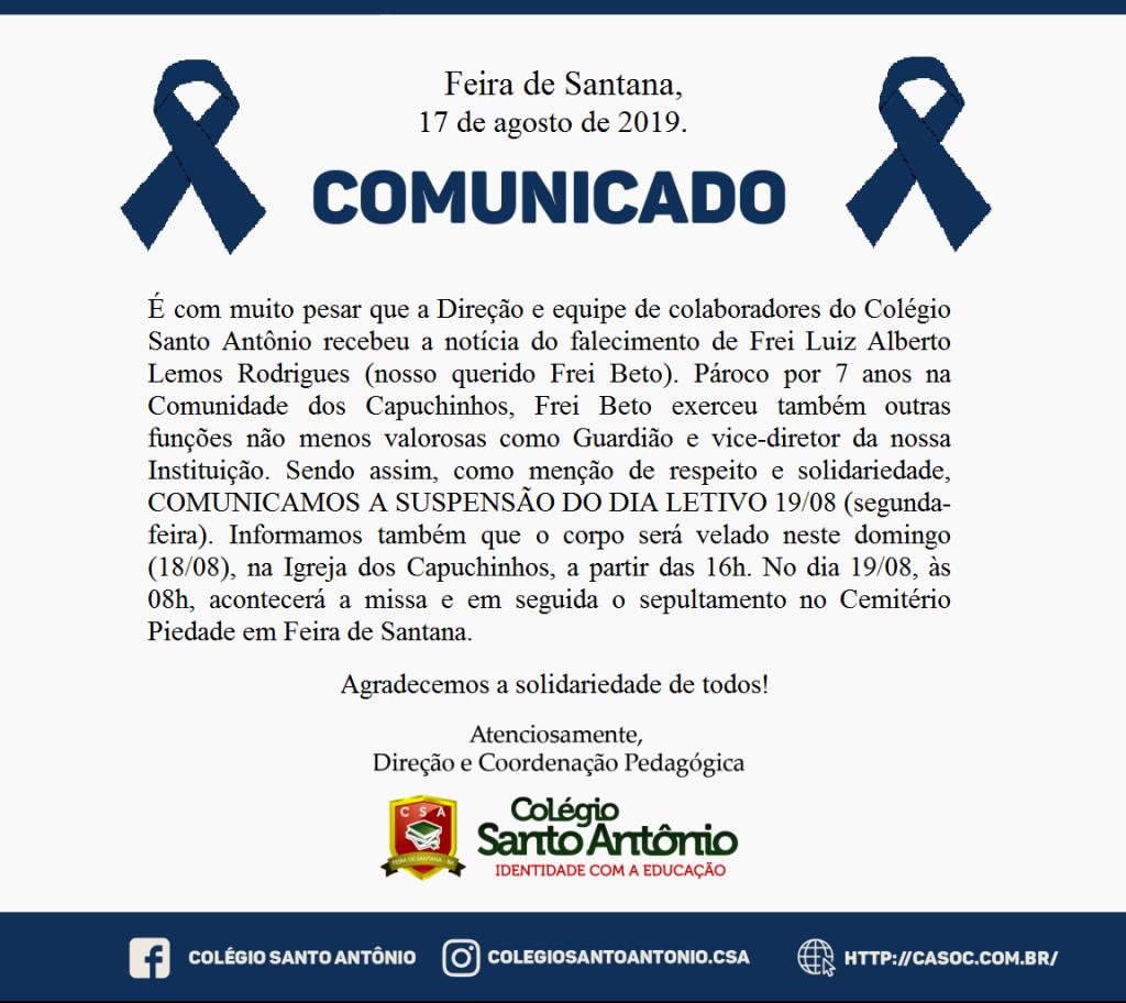 Nota de falecimento – É com muito pesar que a Direção e equipe de colaboradores do Colégio Santo Antônio recebeu a notícia do falecimento de Frei Luiz Alberto Lemos Rodrigues (nosso querido Frei Beto).