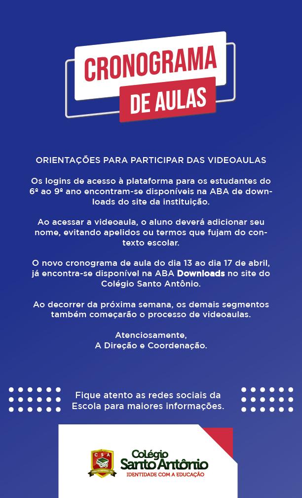 CRONOGRAMA DE AULA SEMANAL – ABRIL