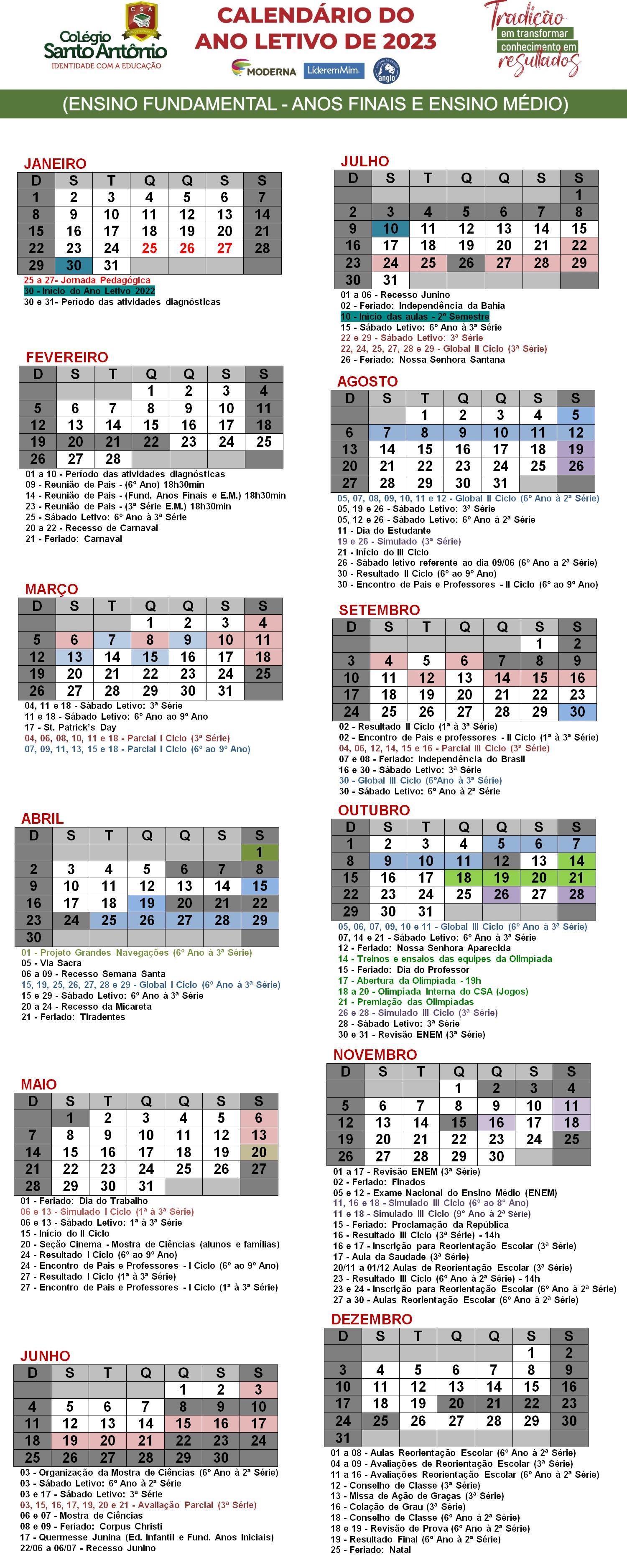 Calendário Fund. II e Médio